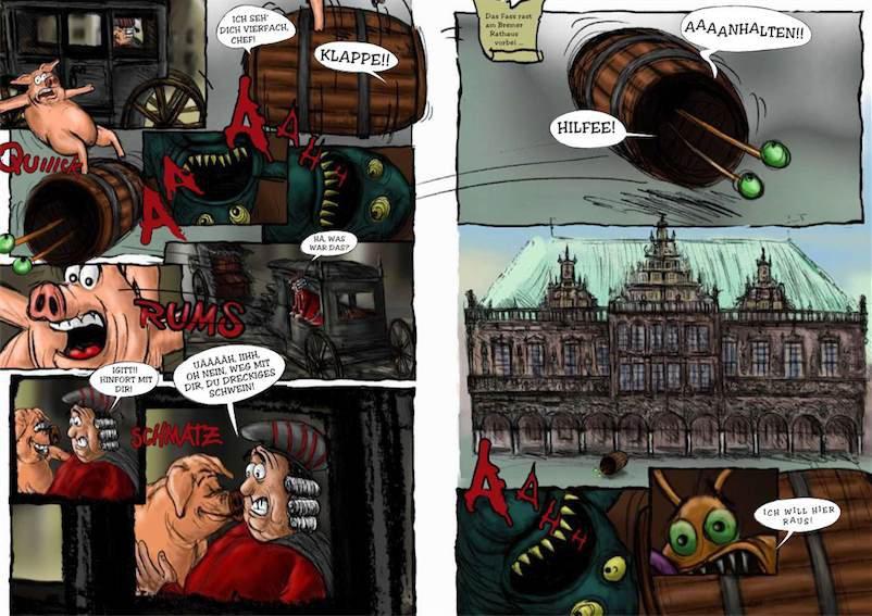 Comicillustration vor dem Bremer Rathaus