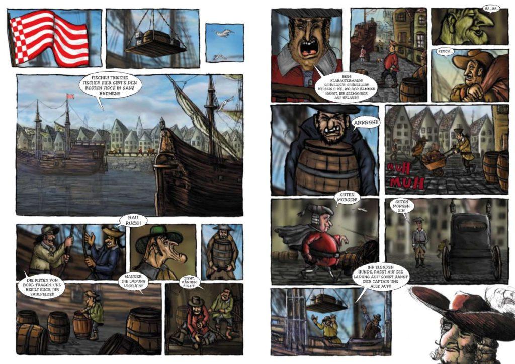 Comicillustration die Bremer Schlachte